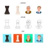 Ilustra??o do vetor do checkmate e do logotipo fino Ajuste do s?mbolo de a??es do checkmate e do alvo para a Web ilustração do vetor
