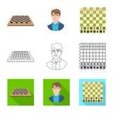 Ilustra??o do vetor do checkmate e do logotipo fino Ajuste do s?mbolo de a??es do checkmate e do alvo para a Web ilustração stock