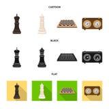 Ilustra??o do vetor do checkmate e do sinal fino Cole??o do s?mbolo de a??es do checkmate e do alvo para a Web ilustração do vetor