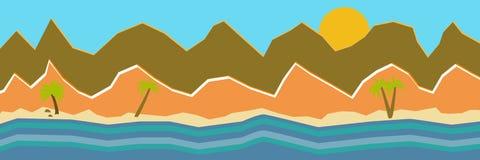 Ilustra??o do vetor da vista panor?mica bonita As montanhas no verão com veem ou oceano, montanha da manhã, paisagem ilustração do vetor