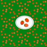Ilustra??o do vetor das morangos Bagas suculentas vermelhas do teste padr?o sem emenda Para criar um contexto do blogue, c?pia em ilustração royalty free