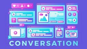Ilustra??o do vetor de um conceito social de uma comunica??o dos meios A conversação da palavra com as janelas do browser colorid ilustração stock