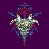 Ilustra??o do vetor geometria sagrado do rob? Para o projeto do t-shirt, cartaz, etiqueta linha estilo - O arquivo do vetor ilustração royalty free
