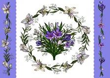 Ilustra??o do vetor Molde floral do grupo floral de easter, grinalda dos lírios e açafrões e beiras isolados no branco ilustração stock
