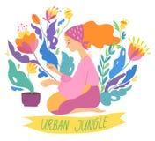 Ilustra??o do vetor no estilo urbano da selva com as plantas da mulher e da casa ilustração royalty free