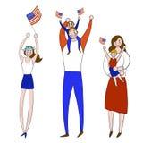 A ilustra??o do vetor objeta o Dia da Independ?ncia feliz em vermelho, em azul e branco colorida para a propaganda Feriado, 4 de  ilustração royalty free