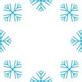 Ilustra??o do vetor Teste padr?o sem emenda dos flocos de neve Flocos de neve azuis no fundo branco Projeto redondo para cartões, ilustração royalty free