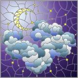 Ilustra??o do vitral com paisagem celestial, a nuvem macia no fundo do c?u estrelado e a lua, imagem quadrada ilustração royalty free