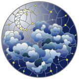 Ilustra??o do vitral com paisagem celestial, a nuvem macia no fundo do c?u estrelado e a lua, imagem redonda ilustração do vetor