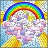 Ilustra??o do vitral com paisagem celestial, sol e nuvens no fundo do arco-?ris, imagem quadrada ilustração stock