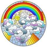 Ilustra??o do vitral com paisagem celestial, sol e nuvens no fundo do arco-?ris, imagem redonda ilustração stock