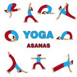 Ilustra??o dos ?cones dos asanas da ioga 9 poses diferentes Figura simples ilustração do vetor