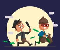Ilustra??o dos desenhos animados do vetor de um agente da pol?cia e de um ladr?o ilustração do vetor