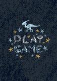 Ilustra??o dos dinossauros do vetor Jogo do jogo do cartaz de Dino dos desenhos animados ilustração stock