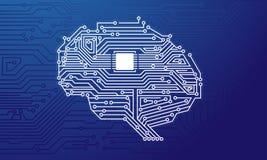 Ilustra??o inteligente artificial de Brain Circuit Board Flat Style ilustração do vetor