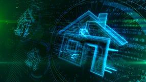 Ilustra??o inteligente do conceito 3D da casa IOT ilustração do vetor