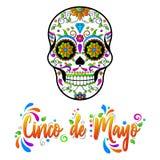 Ilustra??o isolada vetor de Cinco de Maya no fundo branco Crânios mexicanos do açúcar, dia dos mortos ilustração stock