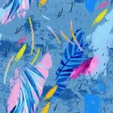 Ilustra??o moderna com folhas tropicais, grunge, texturas da aquarela, cursos ?speros da escova, elementos m?nimos ilustração stock