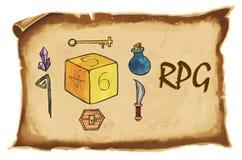 Ilustración Letras 'RPG ', dados hexagonales para el tablero, dnd, o juegos tableros, cristales, botella con la poción mágica, pe libre illustration