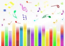 Ilustración abstracta con las barras y la música n del volumen stock de ilustración