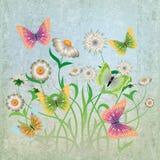 Ilustración abstracta con las flores y la mariposa Imagen de archivo libre de regalías