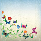 Ilustración abstracta con las flores y la mariposa Foto de archivo