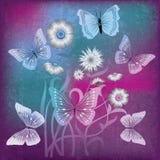 Ilustración abstracta con las flores y la mariposa Fotografía de archivo