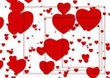 Ilustración abstracta con los corazones y las sombras rojos Foto de archivo libre de regalías