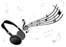 Ilustración abstracta de auriculares y de un bastón stock de ilustración