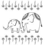 Ilustración abstracta de dos elefantes Imagen de archivo libre de regalías