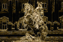Ilustración abstracta El jinete de oro en un caballo Fotografía de archivo libre de regalías