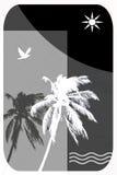 Ilustración abstracta para el recorrido tropical, palmeras, gaviotas, Fotos de archivo libres de regalías