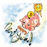 Ilustración Aislado en blanco El sol lanza el bitcoin en la hucha La inscripción de la enhorabuena en el Año Nuevo foto de archivo libre de regalías