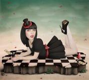 Ilustración al cuento de hadas Alicia en Wonderlan Imagenes de archivo