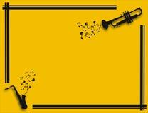 Ilustración amarilla con el saxofón y la trompeta que juegan música Fotos de archivo