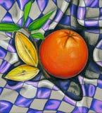 Ilustración anaranjada de la comida campestre Fotos de archivo