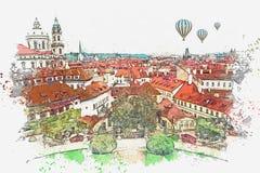 Ilustración Arquitectura antigua tradicional en Praga stock de ilustración
