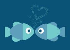 Ilustración azul de dos pescados en amor y corazón Imágenes de archivo libres de regalías