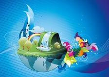 Ilustración azul de la tierra ilustración del vector