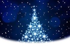 Ilustración azul del árbol de navidad stock de ilustración