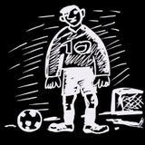 Ilustración cómica del handrawn del fútbol. Fotografía de archivo libre de regalías