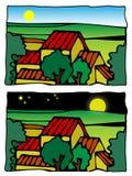 Ilustración cómica del vector de la escena de la granja imagen de archivo