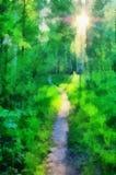Ilustración, camino en el bosque ilustración del vector