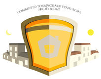 Ilustración casera de la insignia del blindaje de la seguridad de la característica Imágenes de archivo libres de regalías