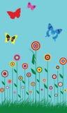 Ilustración colorida de las flores de mariposa del resorte stock de ilustración