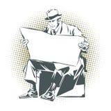 Ilustración común Gente en arte pop del estilo y la publicidad retros del vintage Hombres con el periódico Periódico para su text Imagenes de archivo