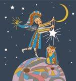 Ilustración con ángel y el gato libre illustration
