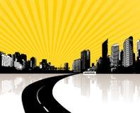 Ilustración con la ciudad. vector Imagen de archivo libre de regalías