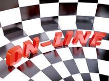 Ilustración con la palabra en línea en el ajedrez Backgro Fotografía de archivo libre de regalías