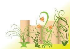 Ilustración con la palizada y las plantas Imagenes de archivo